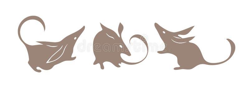 Bandicoot, αυστραλιανό ζώο Διάνυσμα Bilby Απομονωμένη σκιαγραφία που τίθεται για το λογότυπο απεικόνιση αποθεμάτων