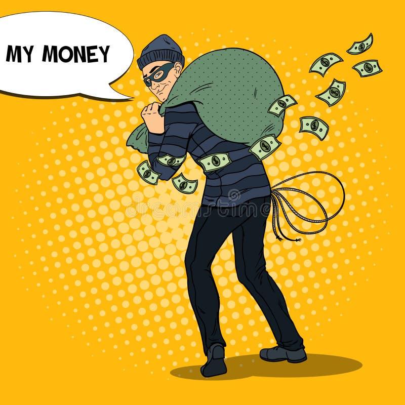 Bandido criminoso com saco do dinheiro Ilustração retro do pop art ilustração do vetor