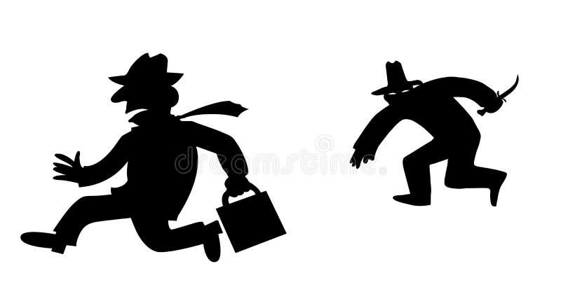 Bandido da silhueta do vetor ilustração stock