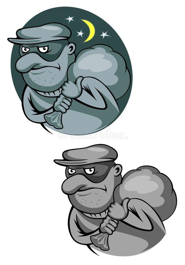 Bandido do ladrão na máscara ilustração royalty free