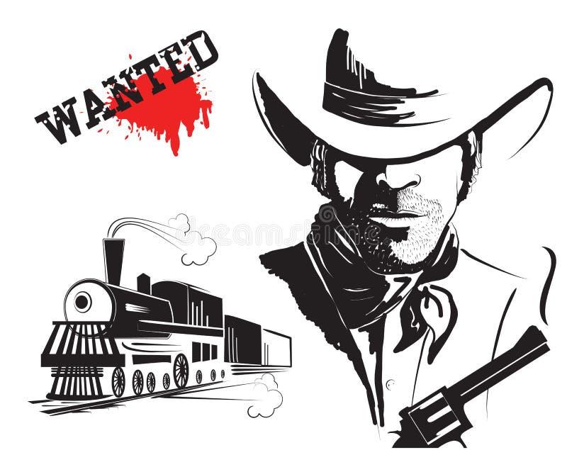 Bandido e locomotiva do vetor ilustração royalty free