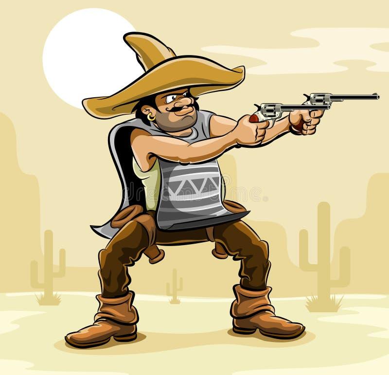 Bandido mexicano com o injetor na pradaria ilustração do vetor