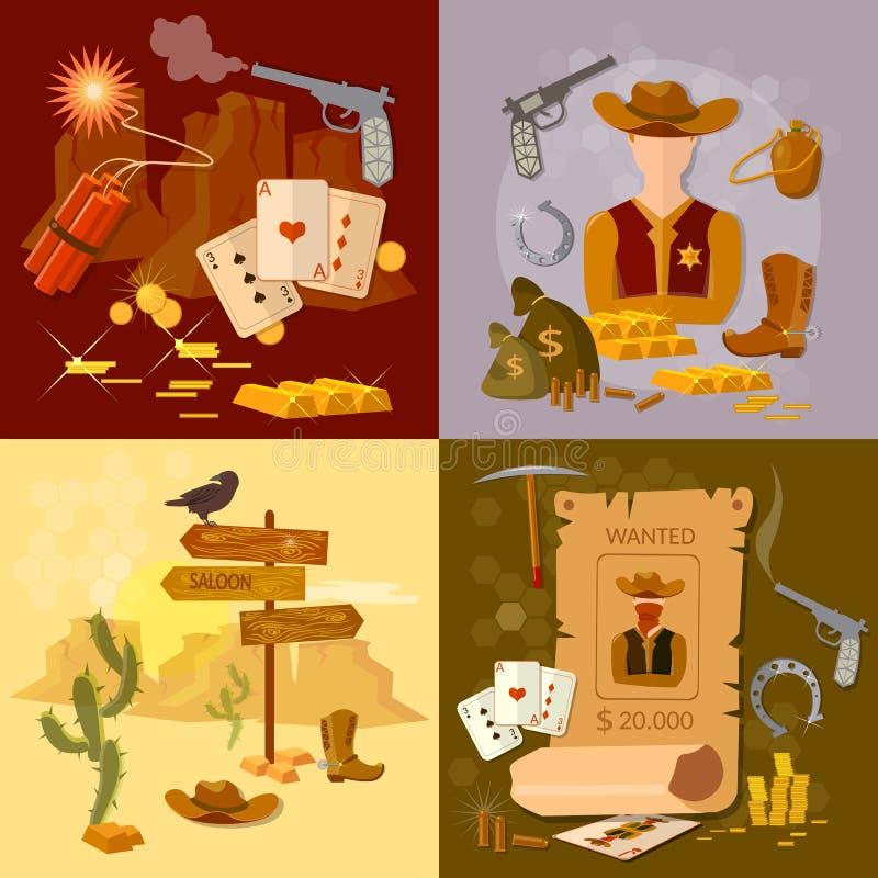 Bandido ocidental ajustado do xerife do vaqueiro ocidental selvagem ilustração stock