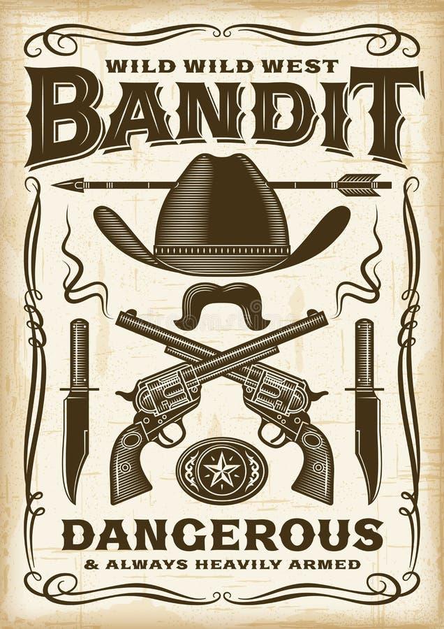 Bandido ocidental selvagem Poster do vintage ilustração royalty free