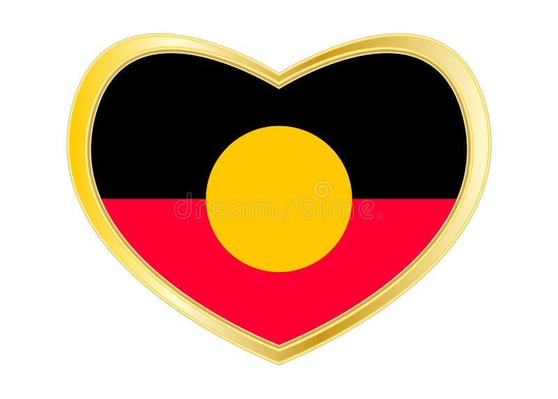 Bandiera aborigena australiana nella forma del cuore, dorata royalty illustrazione gratis