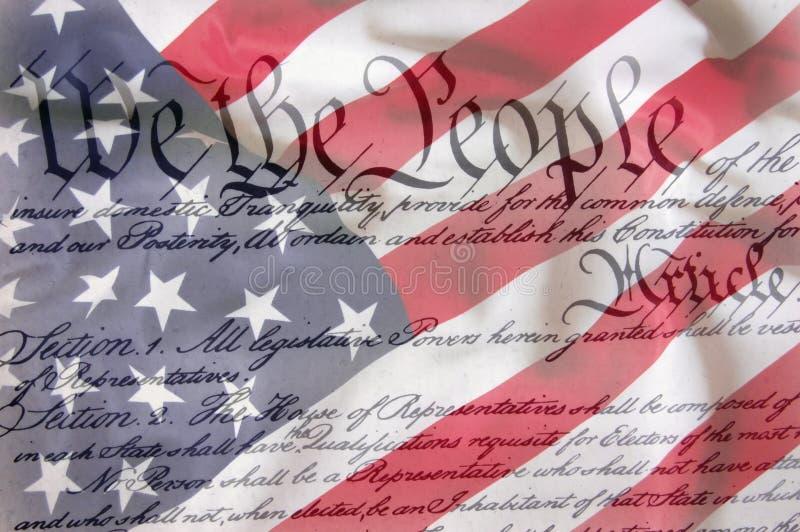 Bandiera americana & costituzione fotografia stock libera da diritti