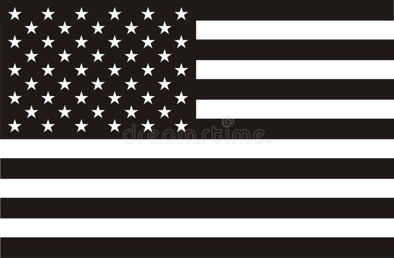 Bandiera americana in in bianco e nero illustrazione vettoriale