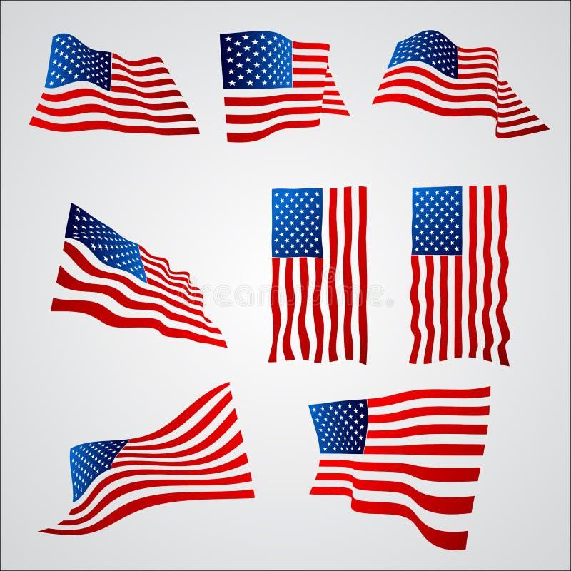 Download Bandiera Americana Con La Pendenza Su Fondo Bianco Illustrazione Vettoriale - Illustrazione di democratico, bandiera: 55360052
