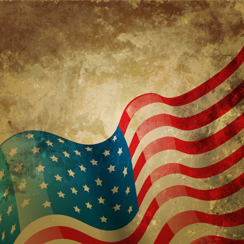 Bandiera americana d'annata illustrazione di stock