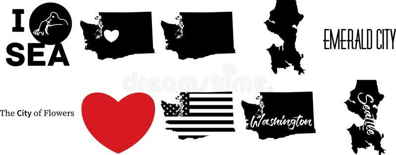 Bandiera americana del mapwith di Seattle Washington Stati Uniti illustrazione vettoriale