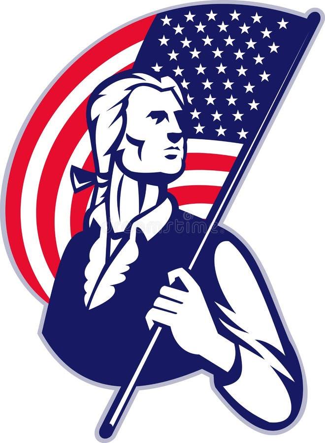 Bandiera americana del Minuteman del patriota illustrazione di stock