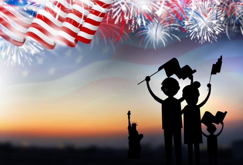 Bandiera americana della tenuta della famiglia con i fuochi d'artificio fotografie stock libere da diritti