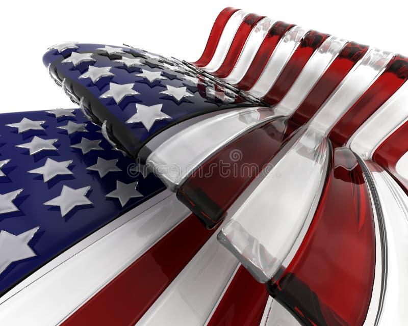 Bandiera americana di vetro illustrazione vettoriale