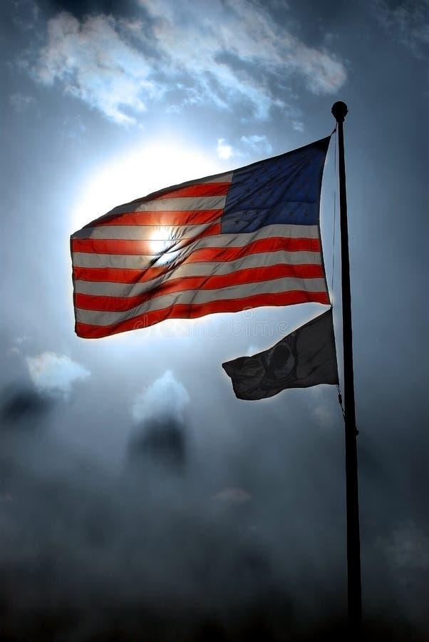 Bandiera americana e POW-MIA immagini stock