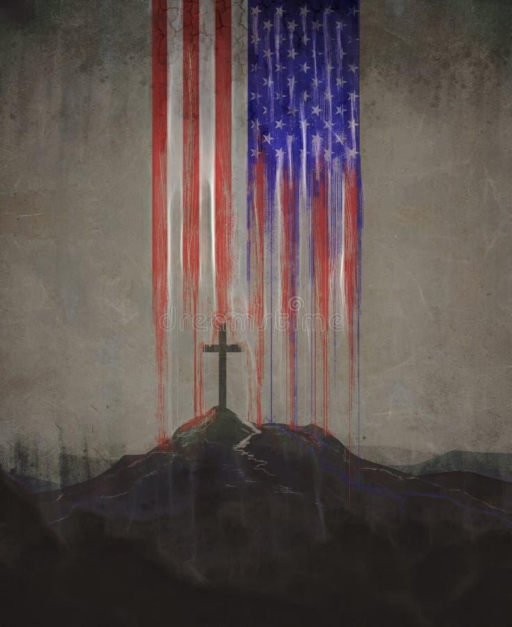 Bandiera americana ed incrocio illustrazione vettoriale