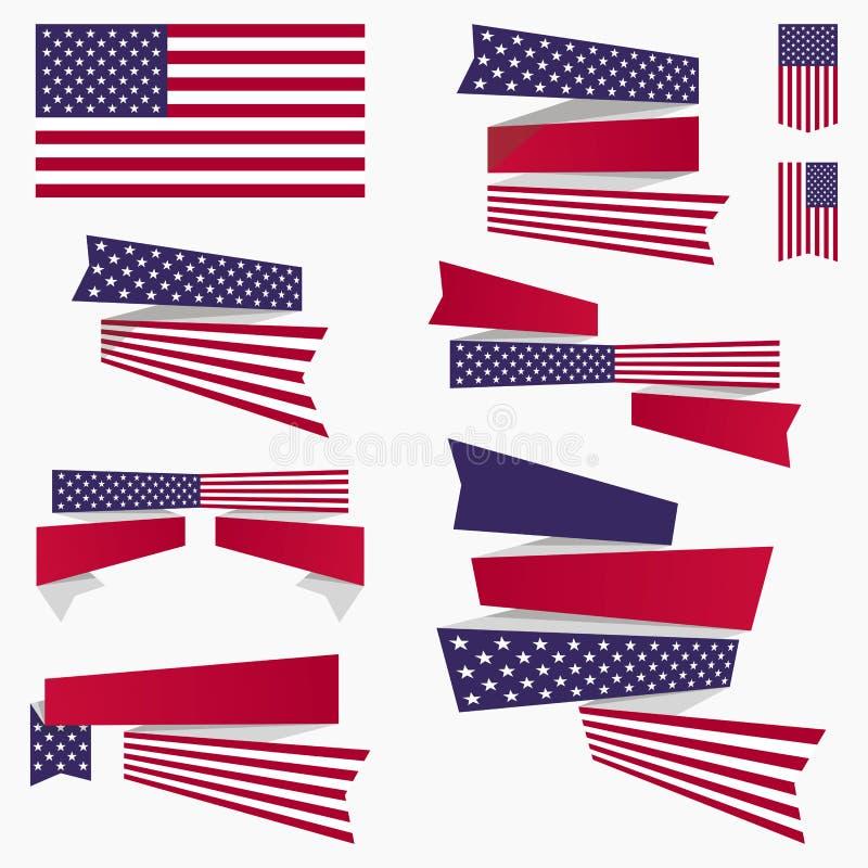 Bandiera americana, nastri ed insegne blu bianchi rossi illustrazione di stock