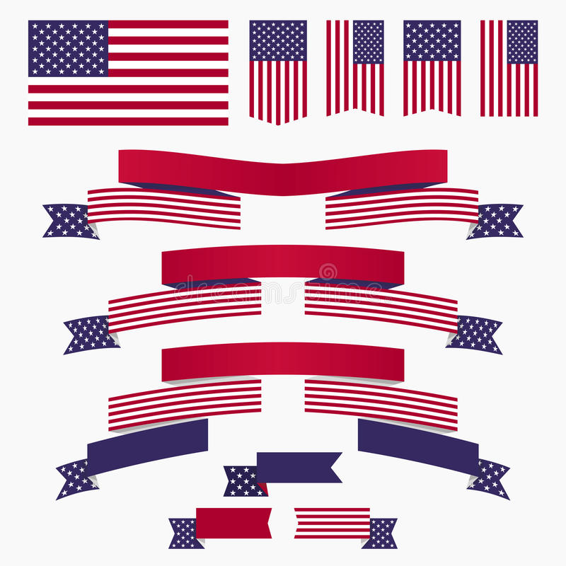 Bandiera americana, nastri ed insegne blu bianchi rossi royalty illustrazione gratis