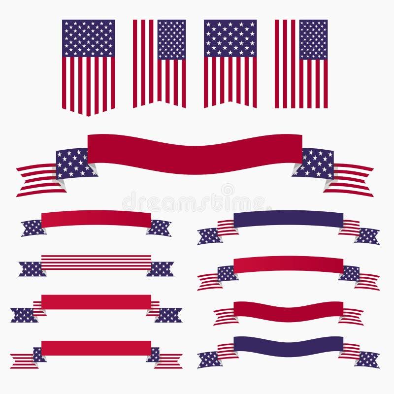 Bandiera americana, nastri ed insegne blu bianchi rossi illustrazione vettoriale