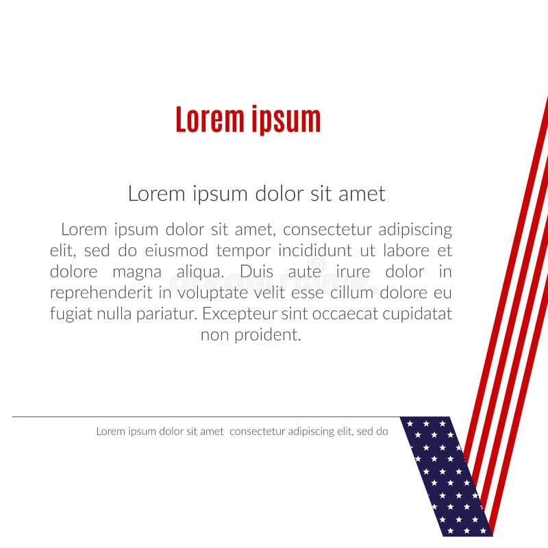 Bandiera americana patriottica del fondo di un elemento di progettazione del segno di spunta per il tema patriottico dell'opuscol illustrazione di stock