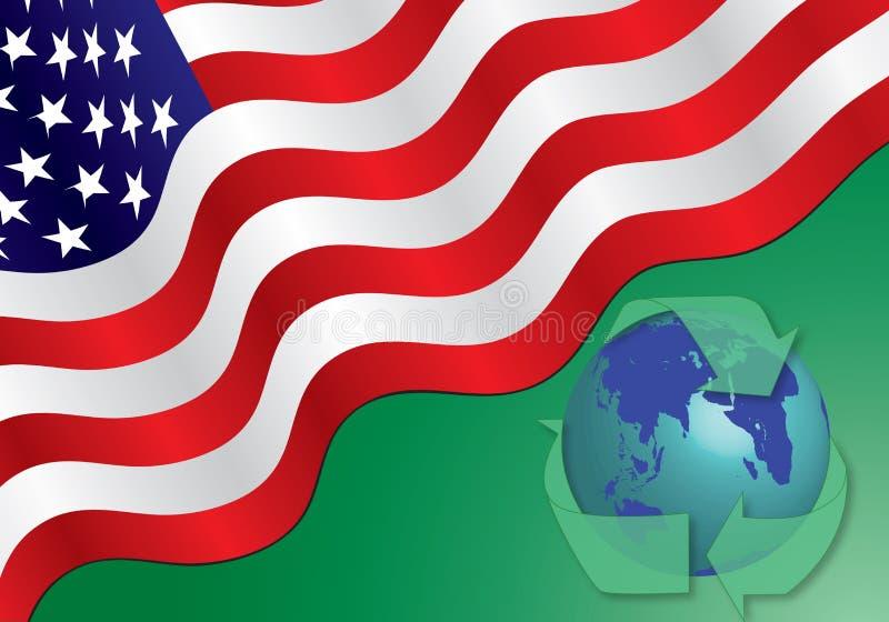 Bandiera americana - ricicli il concetto illustrazione di stock