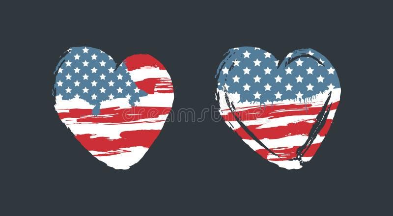 Bandiera americana sotto forma di un cuore, stile di lerciume, un simbolo degli Stati Uniti royalty illustrazione gratis