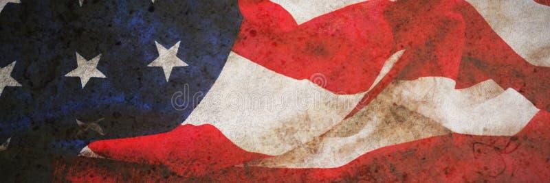 Bandiera americana su una tavola di legno illustrazione di stock