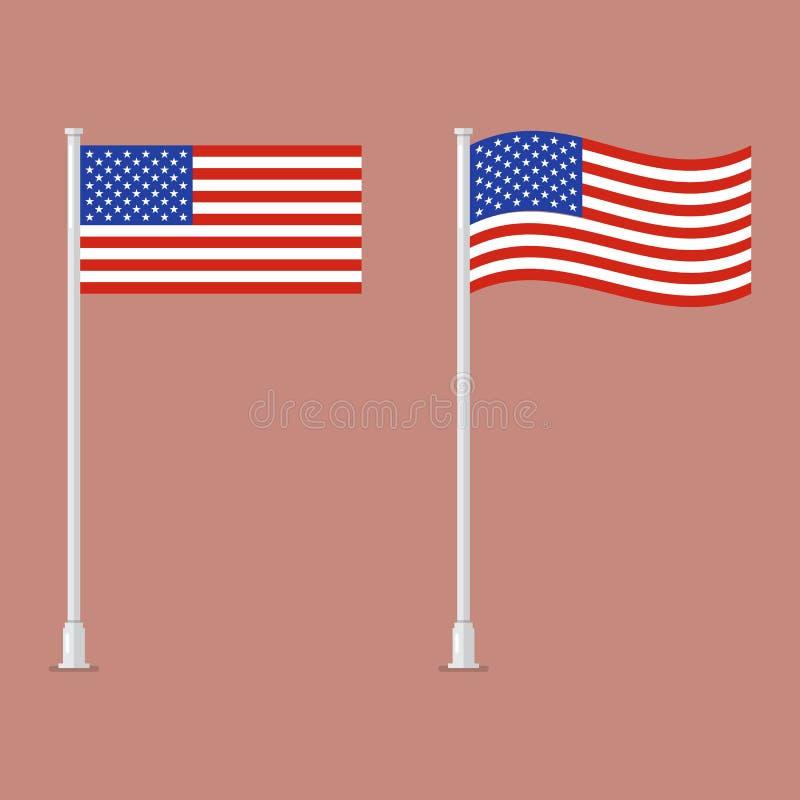 Bandiera americana sul palo illustrazione di stock