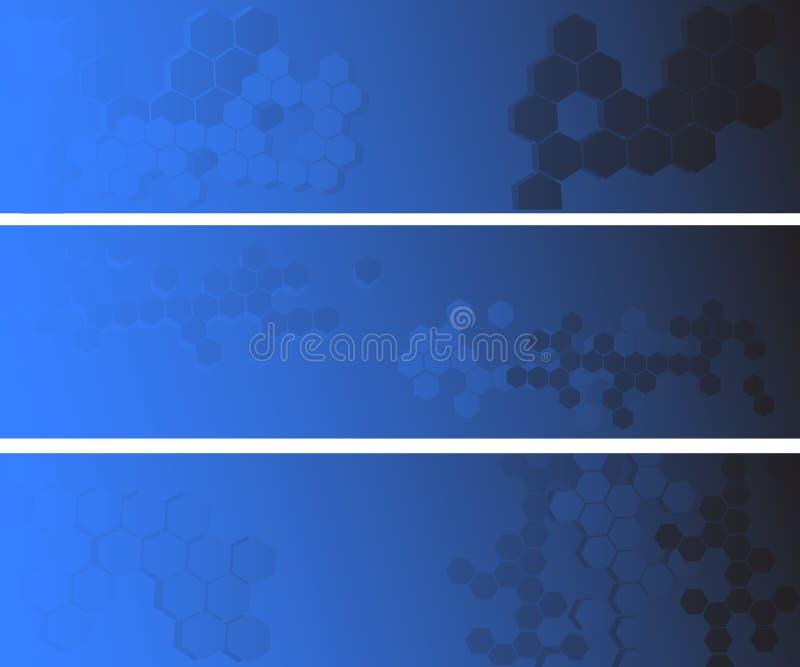 Bandiera astratta blu tre illustrazione vettoriale