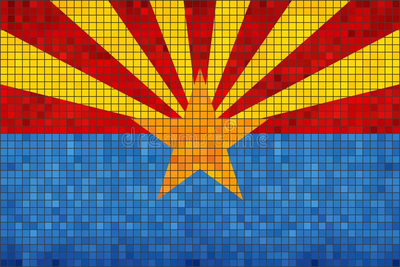 Bandiera astratta del mosaico dell'Arizona illustrazione di stock