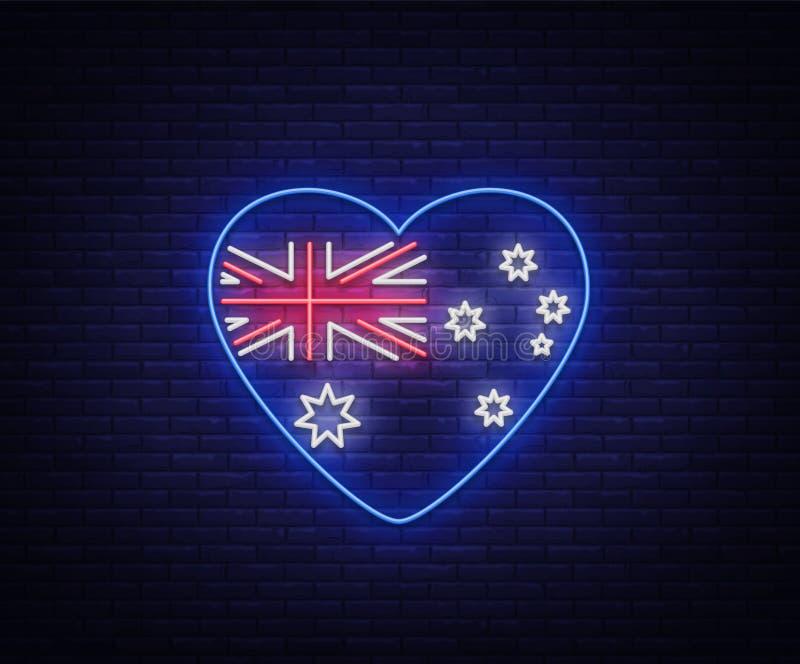 Bandiera australiana sotto forma di insegna al neon del cuore Illustrazioni di vettore, insegna al neon, tabellone per le affissi illustrazione di stock