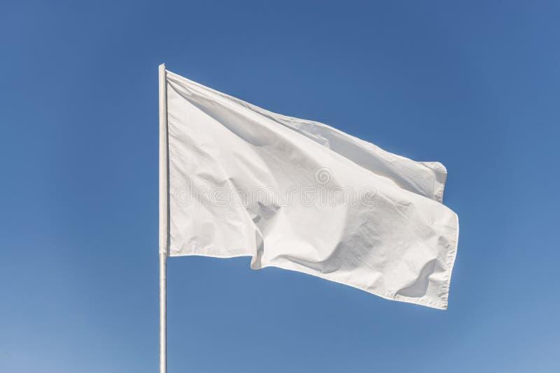 Bandiera bianca contro il cielo blu fotografia stock libera da diritti