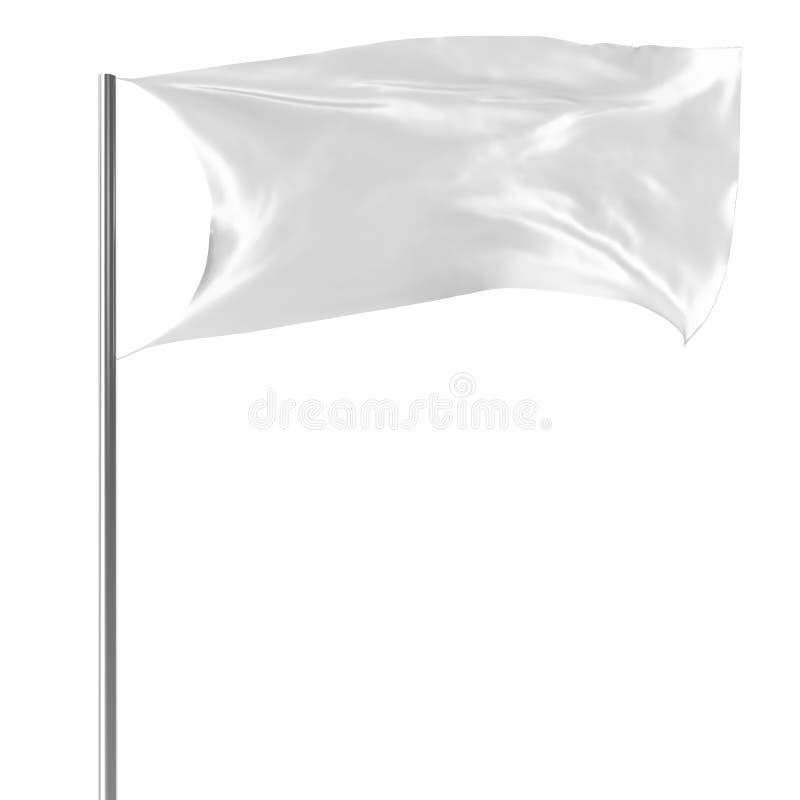 Bandiera bianca sul volo dell'asta della bandiera nel modello vuoto del vento, bandiera isolata su fondo bianco Modello in bianco immagini stock