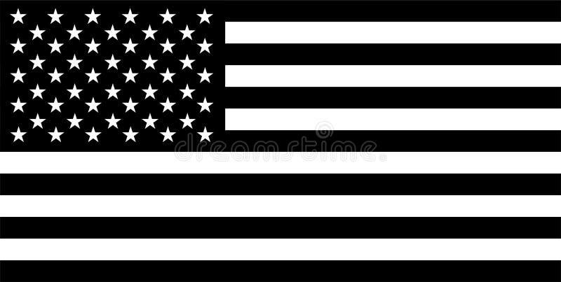 bandiera in bianco e nero degli S.U.A. fotografie stock libere da diritti