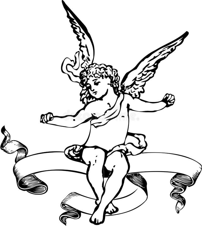 Bandiera in bianco e nero dell'araldica del Cupid. royalty illustrazione gratis