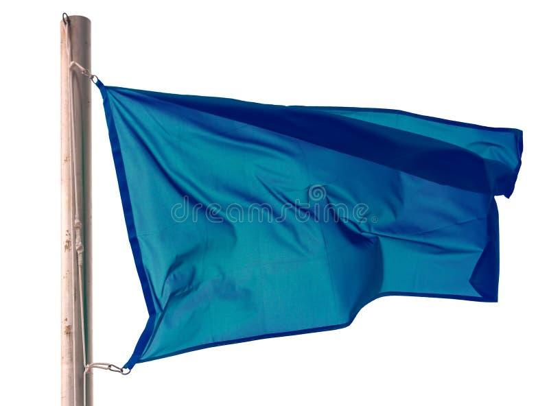 Bandiera blu d'ondeggiamento sopra fondo bianco fotografia stock