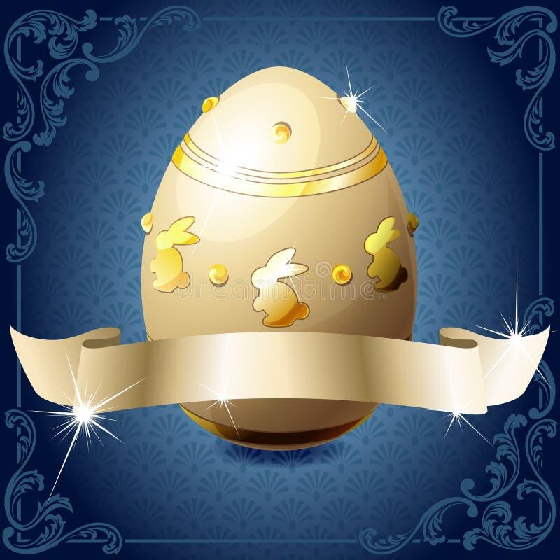 Bandiera blu e bianca elegante con l'uovo di cioccolato illustrazione di stock