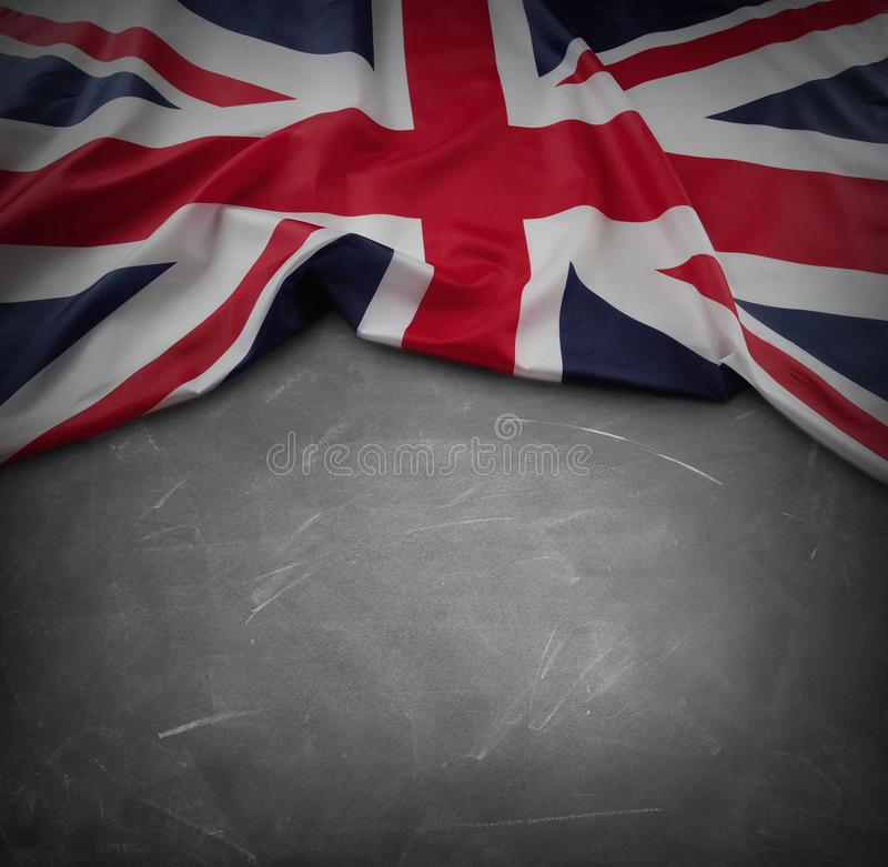 Bandiera BRITANNICA sulla lavagna immagini stock libere da diritti