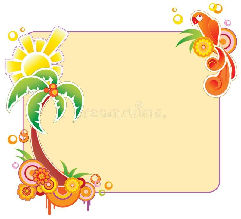 Bandiera colorata con la palma illustrazione vettoriale