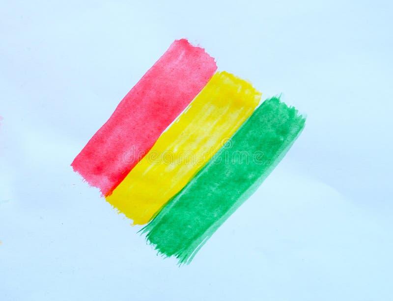 bandiera congolese dipinta con l'acquerello fotografie stock
