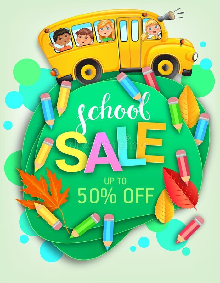 Bandiera creativa per la vendita delle scuole con autobus e bambini immagini stock libere da diritti