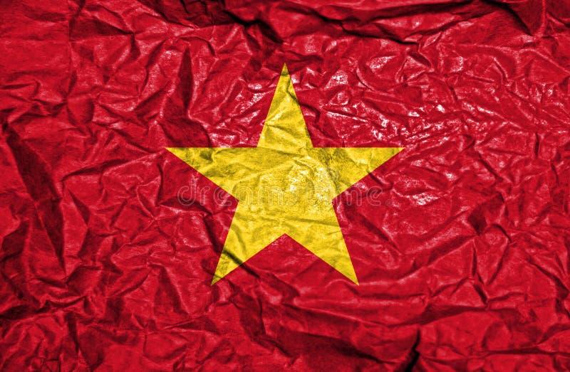 Bandiera d'annata del Vietnam su vecchio fondo di carta sgualcito immagini stock