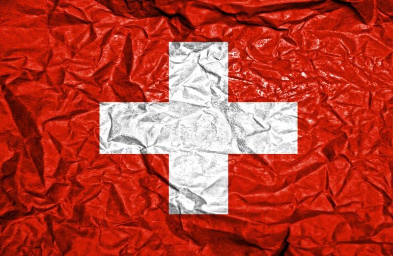 Bandiera d'annata svizzera su vecchio fondo di carta sgualcito fotografie stock libere da diritti