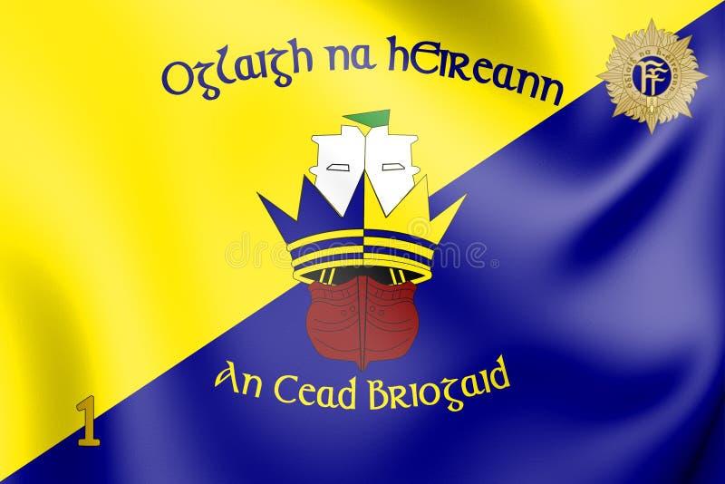 bandiera 3D dei primi BDE della brigata 1, Irlanda royalty illustrazione gratis