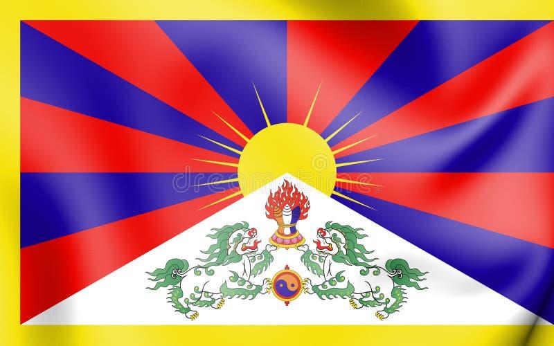bandiera 3D del Tibet illustrazione vettoriale