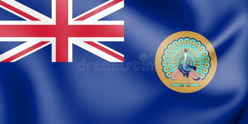 bandiera 3D della Birmania britannica 1937-1948 illustrazione di stock