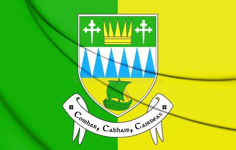 bandiera 3D della contea di Kerry, Irlanda royalty illustrazione gratis