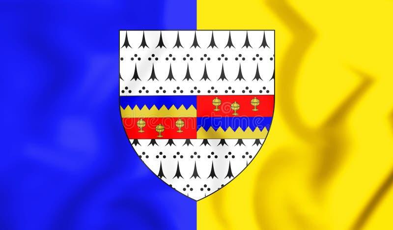 bandiera 3D della contea di Tipperary, Irlanda illustrazione vettoriale