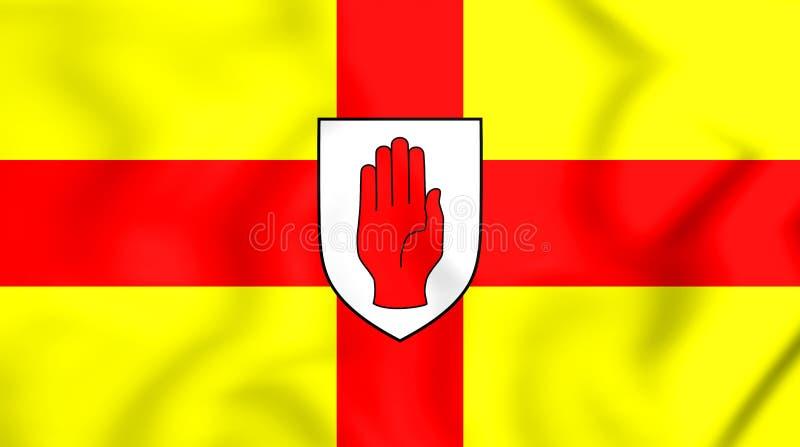 bandiera 3D della provincia di Ulster, Irlanda illustrazione di stock