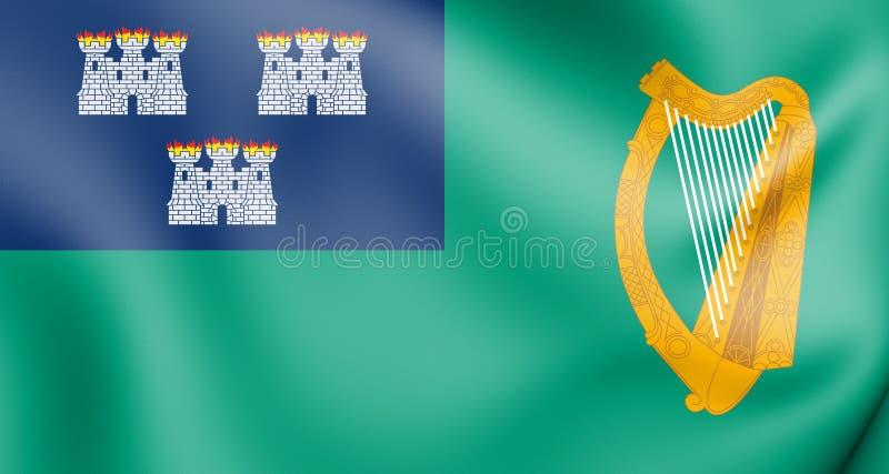 bandiera 3D di Dublino, Irlanda illustrazione di stock