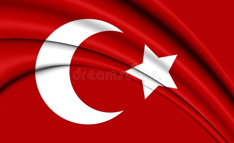 bandiera 3D di impero ottomano 1299-1923 illustrazione di stock